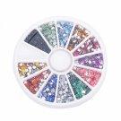 12 Colors 3000pcs + Wheel Nail Art Glitter Tips Rhinestone Flower