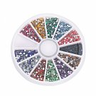 12 Colors 3000pcs + Wheel Nail Art Glitter Tips Rhinestone Round