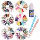 6 Styles Nail Art Rhinestones + 2pcs Nail Art Dotting Pen + Glue Big Box