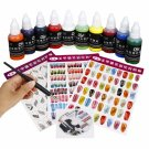 Professional 10 Colors Painting Pigment with Pen Nail Art Kit Set