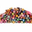 100pcs Acrylic French False Nail 100pcs Cute 3D Nail Art FIMO Canes Rods Decoration Kit Set
