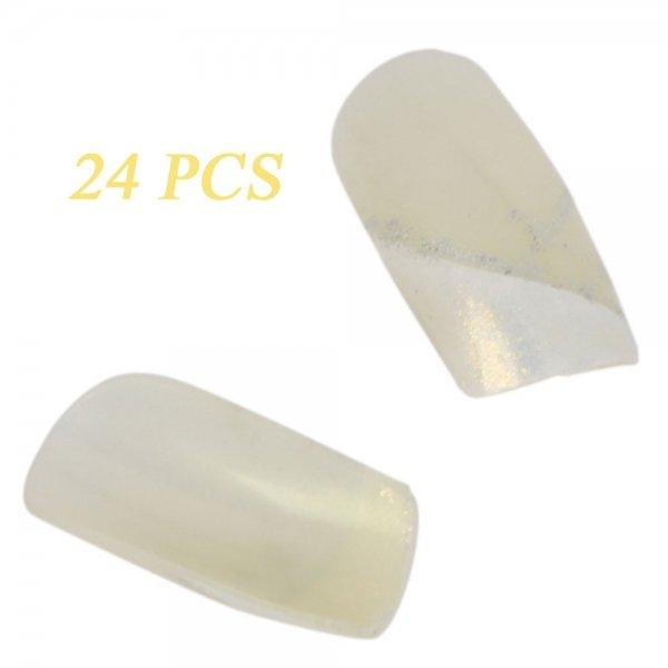 24pcs Natural Full False Nails Tips White 609-5
