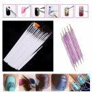 15Pcs New Nail Art Painting Pen Brush + 5pcs 2-way Nail Art Dotting Pen