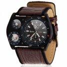 Fashion Men Oulm Compass Military Army Windmills Shape Leather Band Quartz Wrist Watch Coffee