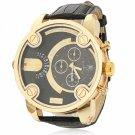JUBAOLI 1039 Black PU Leather Band Analog Unisex Wrist Watch Black Dial