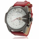 Unisex White Round Dial Analog Display Stainless Steel Case Wrist Watch with Red PU Leather Band