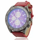 Multicolored Waterproof Round Dial Stainless Steel Case Unisex Watch with PU Band Red Dial Red Band
