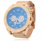 Unisex Waterproof Round Dial Golden Case Stainless Steel Watch Blue Dial Golden Band