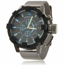 Waterproof Circular Dial Alloy Unisex Wrist Watch with Blue Font Black Dial Gray Band