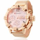 Unique Unisex Style Circular Dial Alloy Band Waterproof Wrist Watch Pink Dial Rose Golden Band