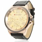 Graceful Waterproof Circular Dial Alloy Watchcase Leather Band Neutral Wrist Watch