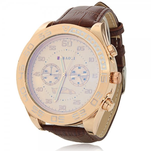 Luxury Water Resistant Round Dial Stainless Steel Case Unisex Watch with Golden Dial Brown Band