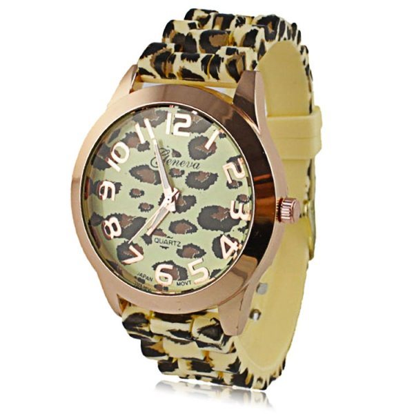 Luxury Leopard Print Round Dial Daily Water Resistant Quartz Women Wrist Watch