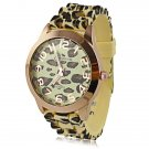 Luxury Leopard Print Round Dial Daily Water Resistant Quartz Women Wrist Watch