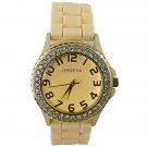 Fashion Crystal Rhinestone Daily Water Resistant Quartz Women Wrist Watch Yellow