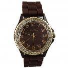 Fashion Crystal Rhinestone Daily Water Resistant Quartz Women Wrist Watch Brown