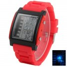 HeiQi D3009 Unisex LED Dual Display Square Dial Silicone Watchband Electronic Waist Watch Red