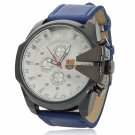 Unisex White Round Dial Analog Display Stainless Steel Case Wrist Watch with Blue PU Leather Band