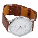 Fashion Men Meishion Thin Simple Leather Band Quartz Wrist Watch Brown