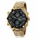 Compact Quartz & Electronic Movements Black Dial Golden Case 3ATM Waterproof Men