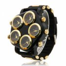 Large Dial Silicone Band Quartz Wrist Watch with 5 Time Zones Display Black & Golden