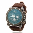 Round Dial Silica Gel Watchband with Calendar Personalized Face Unisex Wrist Watch Coffee