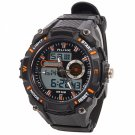 ALIKE Dual Display Multifunction Waterproof Electronic Outdoor Sports Male Men Wrist Watch Orange