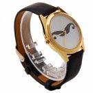 Fashion Women Ladies Witty Mustache Alloy Leather Quartz Wrist Watch Black
