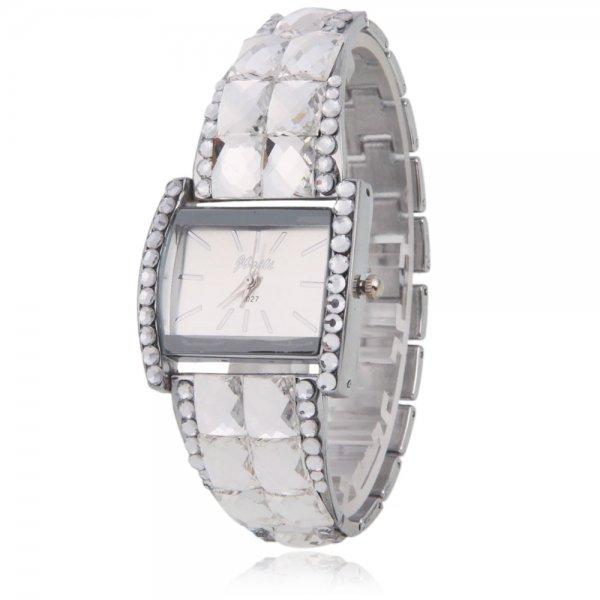 Women Ladies WL Stainless Steel Case Alloy Rhinestone Band Square Quartz Wrist Watch White
