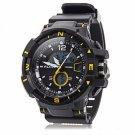 ALIKE Dual Display LED Digital Multifunction Waterproof Electronic Outdoor Sports Male Watch Yellow