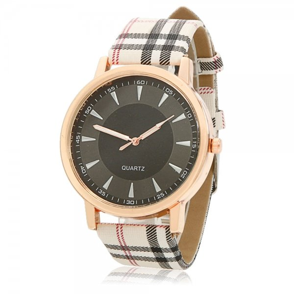 Needle Scale Black Dial Alloy Case Imitation Leather Plaid Watchband Women Wrist Watch Beige