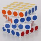 QJ 4x4x4 6.2cm Spring Rubik's Revenge White with New stickers on the Surface