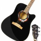 "Beginner 41"""" Cutaway Folk Acoustic Wooden Guitar Black"