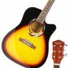 "CLEARANCE Beginner 41"""" Cutaway Folk Acoustic Wooden Guitar Sunset Red"