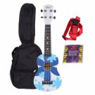 "IRIN 21"""" Flowers Pattern Basswood Soprano Ukulele Blue with Bag Strap Chords"