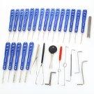 30pcs H&H AML020065 Universal Stainless Steel Alloy Lock Pick Tools Set Dark Blue & Silver