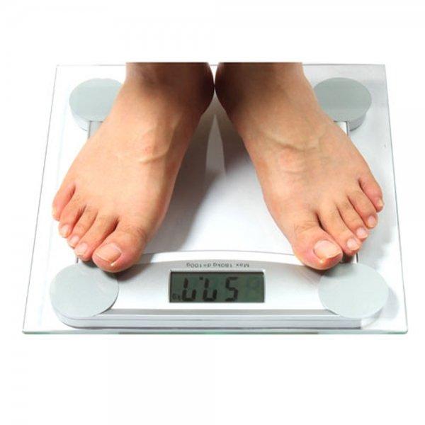 400lb/180kg x 100g 6MM Toughened Glass Body Watcher Digital Bathroom Scale White 606