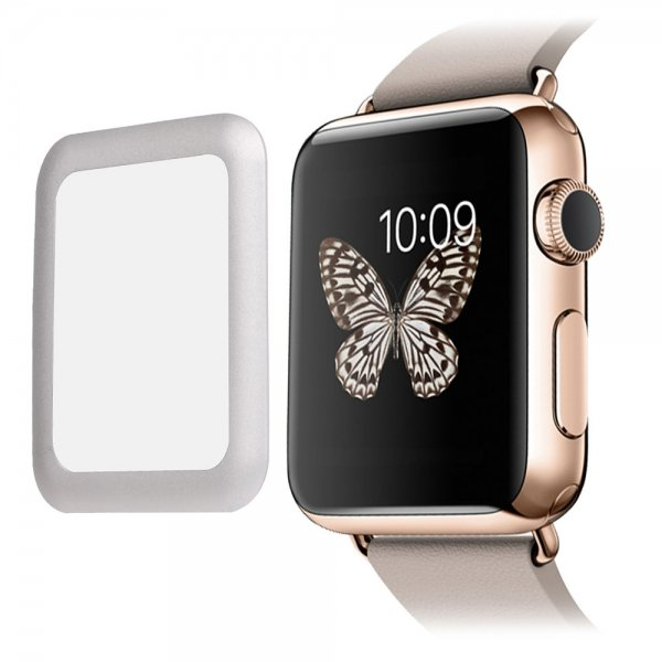 Link Dream Tempered Glass Screen Film with Full Cover Metal Edge for Apple Watch (38mm Silver )