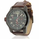 CURREN 8182B 3 Needles Scale Black Alloy Case Waterproof Male Wrist Watch with Brownish Leather Band