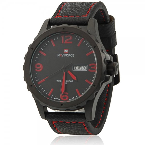 NAVIFORCE 9039 Men Individual Zigzag Style Red Scale Wrist Watch with Black Leather Band