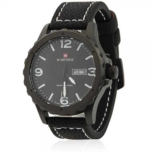 NAVIFORCE 9039 Men Individual Zigzag Style White Scale Wrist Watch with Black Leather Band