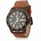 NAVIFORCE 9040 Cool Leisure Style Orange Scales Brown Leather Watchband Male Watch with Calendar
