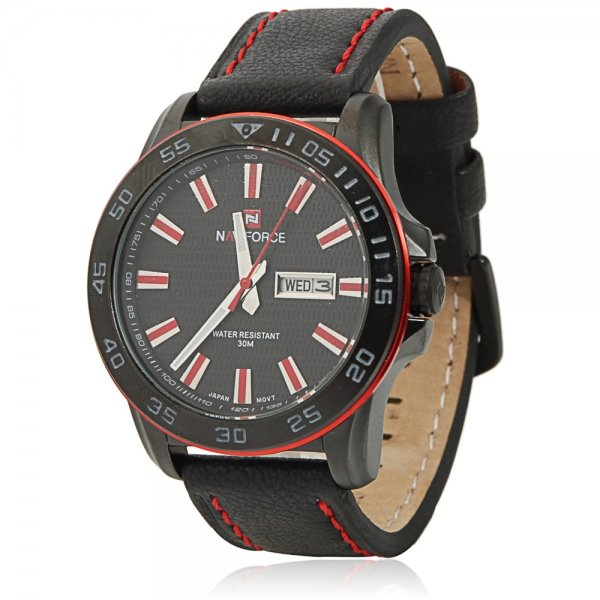 NAVIFORCE 9040 Cool Leisure Style Red Scales Black Leather Watchband Male Wrist Watch with Calendar