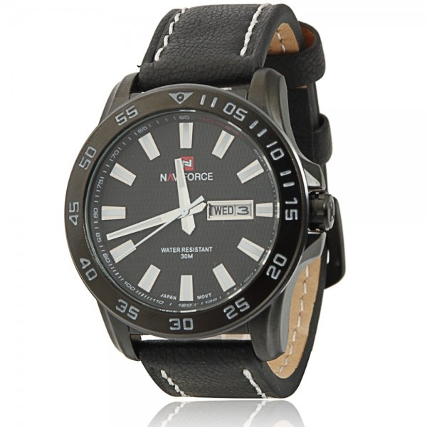 NAVIFORCE 9040 Cool Leisure Style White Scales Black Leather Watchband Male Watch with Calendar