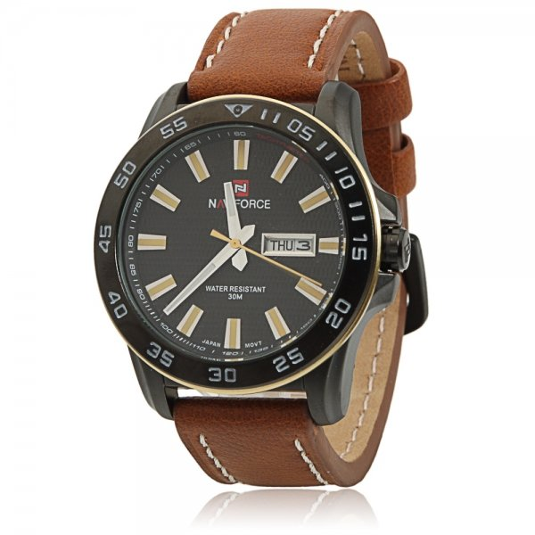 NAVIFORCE 9040 Cool Leisure Style Yellow Scales Brown Leather Watchband Male Watch with Calendar