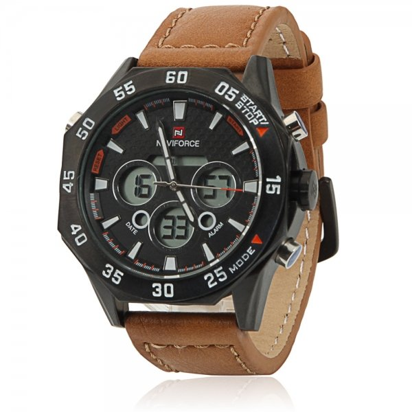 NAVIFORCE 9043 Three Dials Black Stainless Steel Case Men Watch with Brown Leather Watchband