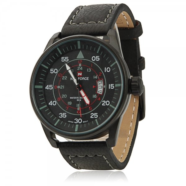 NAVIFORCE 9044 Large Round Black Dial Numeral Scale Male Wrist Watch with Black Leather Band