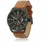 NAVIFORCE 9044 Large Round Black Dial Numeral Scale Male Wrist Watch with Brown Leather Band