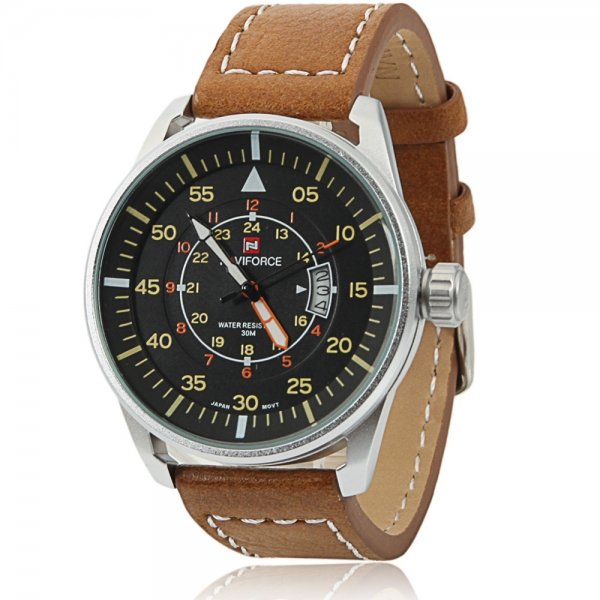 NAVIFORCE 9044 Large Round Black Dial Numeral Scale White Watchcase Male Watch Brown Leather Band