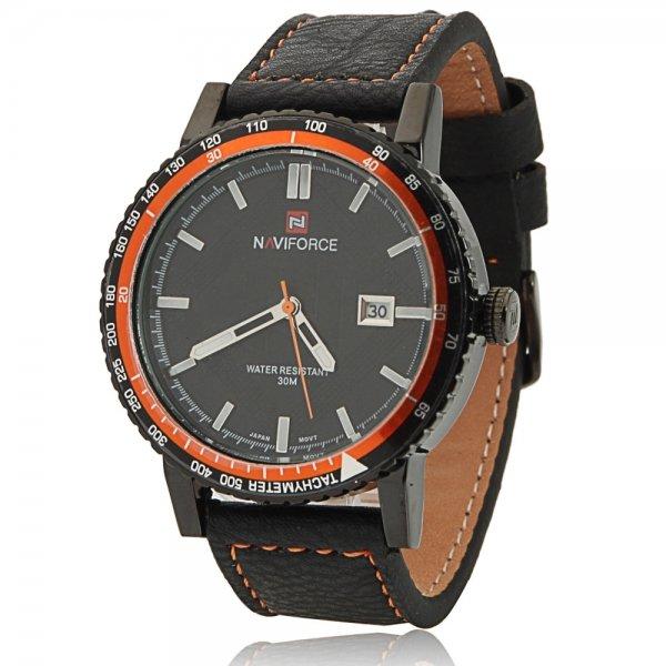 NAVIFORCE 9048 Waterproof Orange Circle Genuine Leather Band Male Watch with Calendar